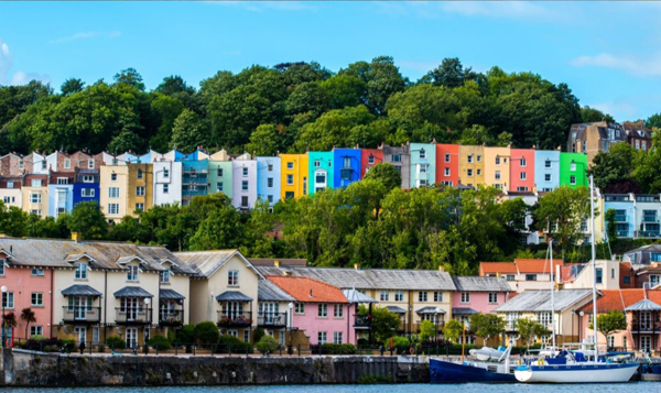 Colourful houses on sea front