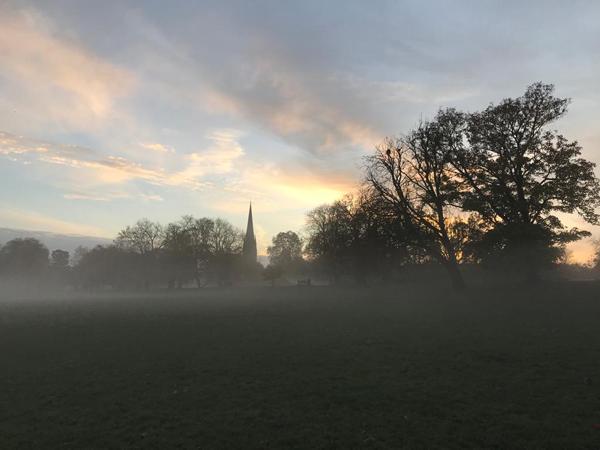 Misty landscape at dusk