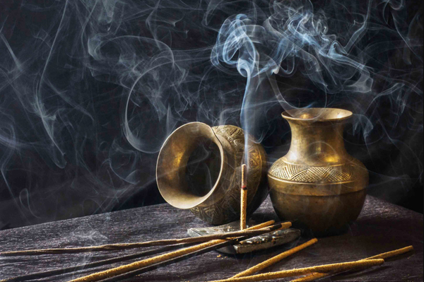 Incense and brass pots