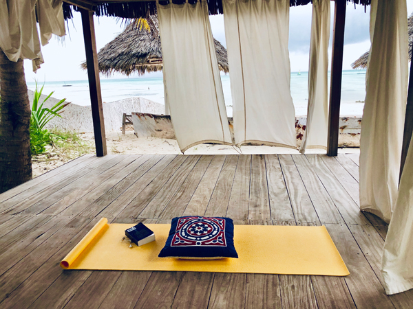 Yoga mat on decking