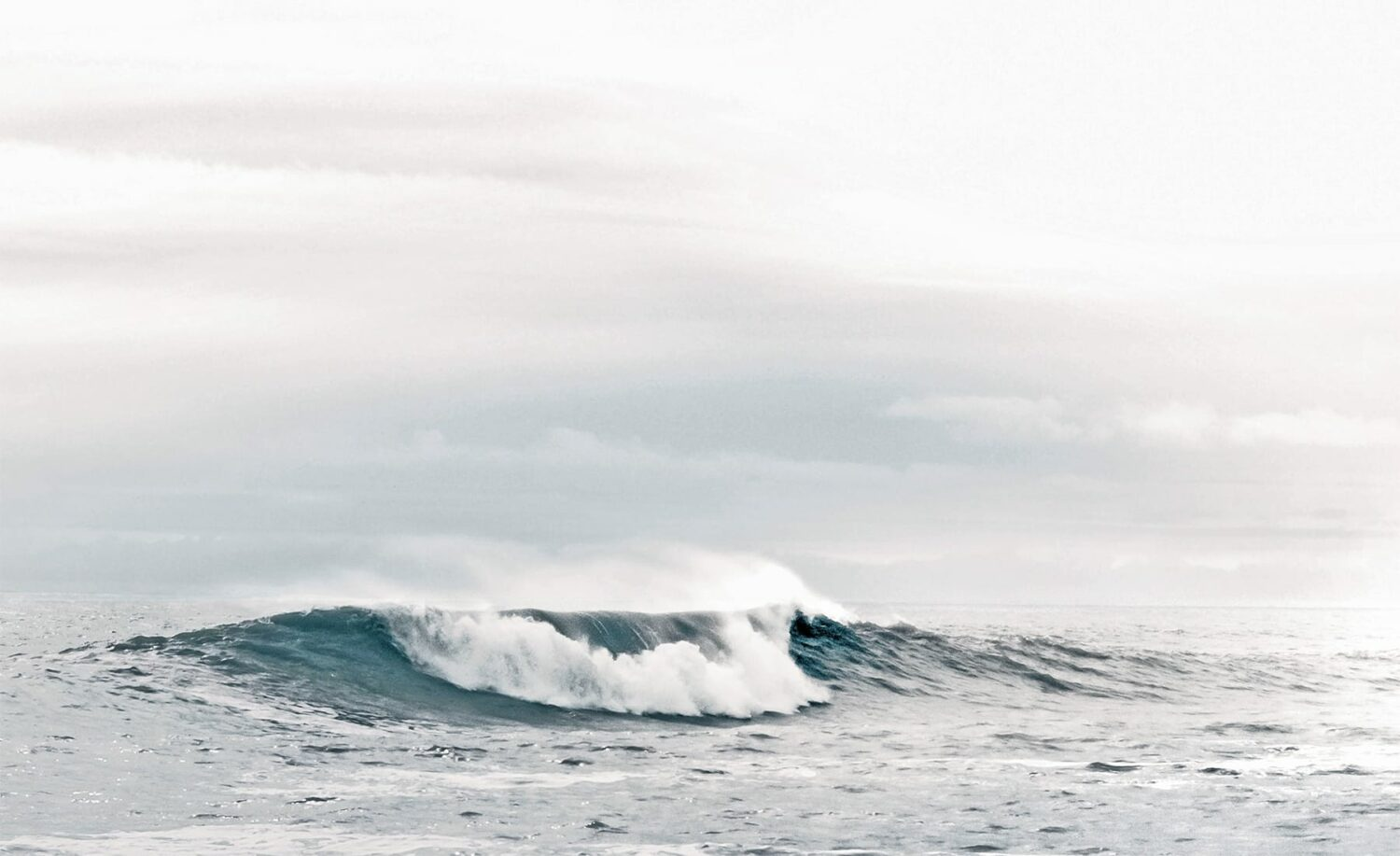 open water with sea wave and grey sky