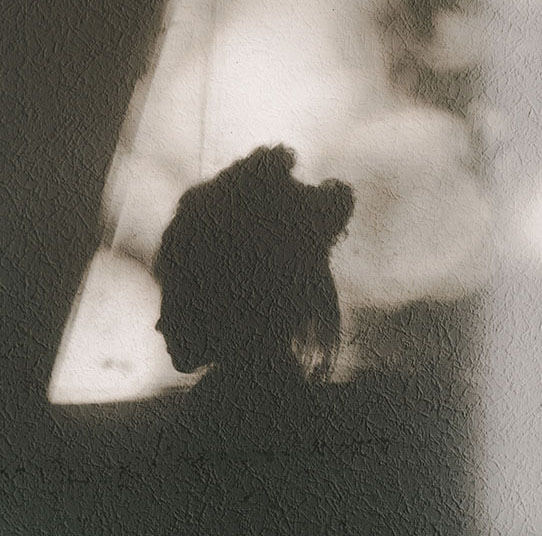 The shadow of a woman's face on a white wall