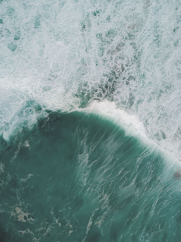 Waves in the sea from above