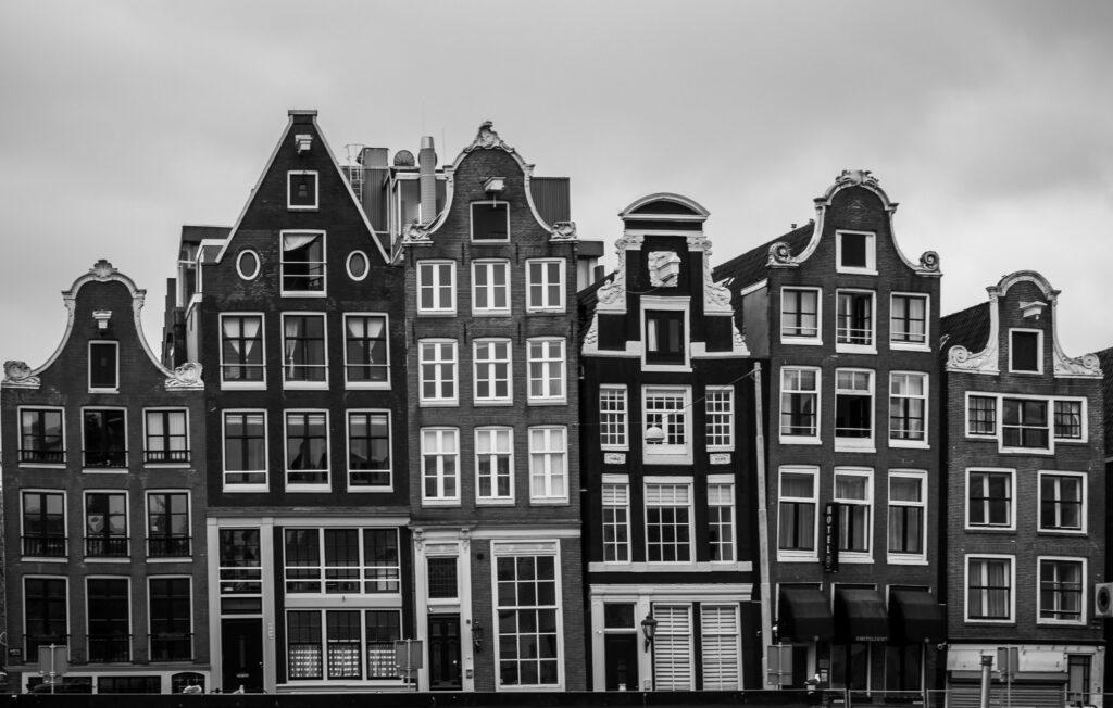 A row of tall houses